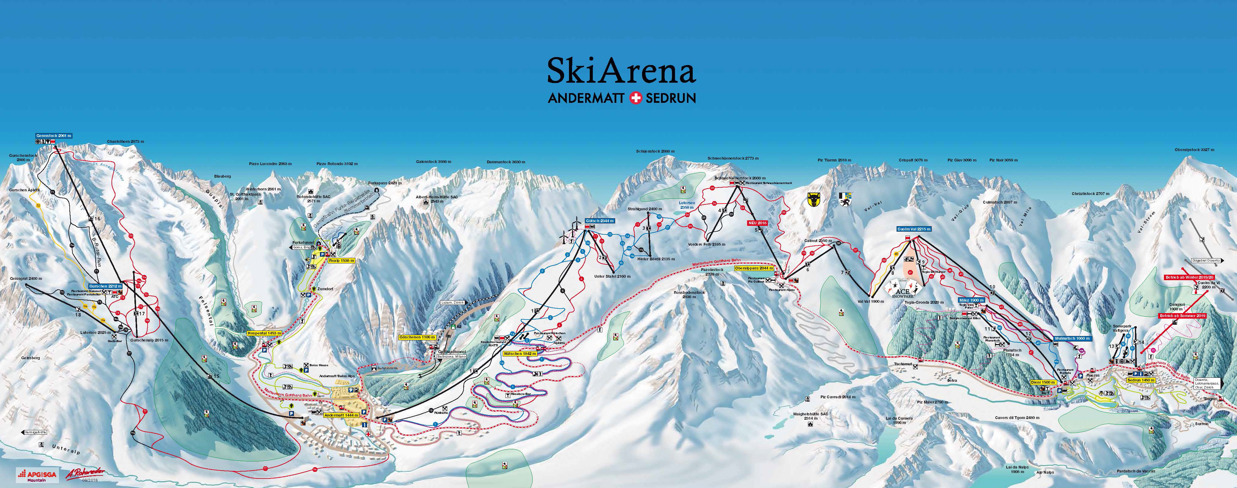 Skiarena Andermatt-Sedrun-Disentis | Pistes | Slopes | Lifts | Map