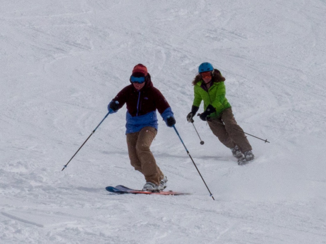 Telemark Skiing with Ski Academy Andermatt; Free your heel and the mind will follow; Girls Tele; My boyfriend cares that I tele!; best instruction in town;